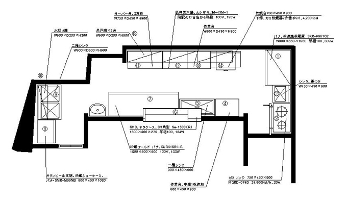 寿司店厨房設計図面